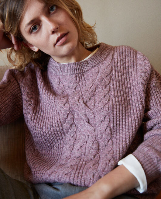 Pullover mit Zopfmuster HUSHED VIOLET
