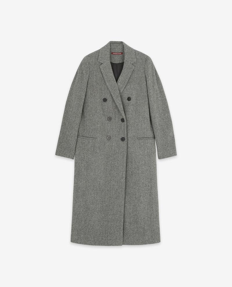 Langer Wolltweed-Mantel Medium heather grey Dalacet
