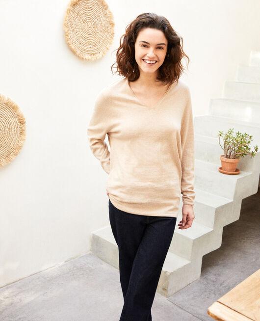 Pullover mit Kaschmir SAND BEIGE