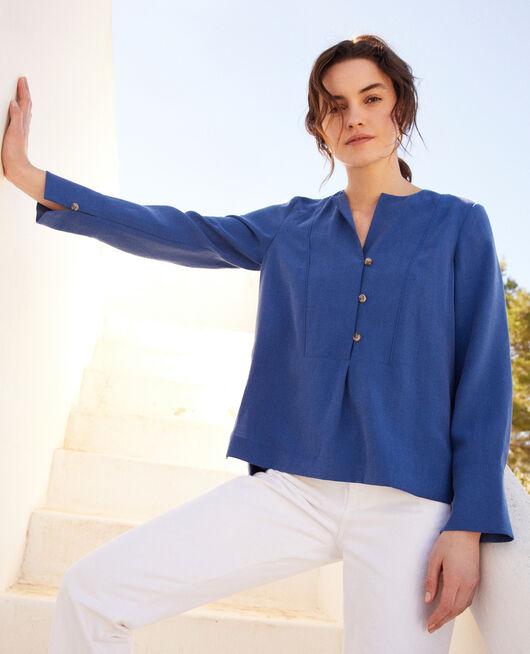 Bluse mit tunesischem Kragen IMPERIAL BLUE