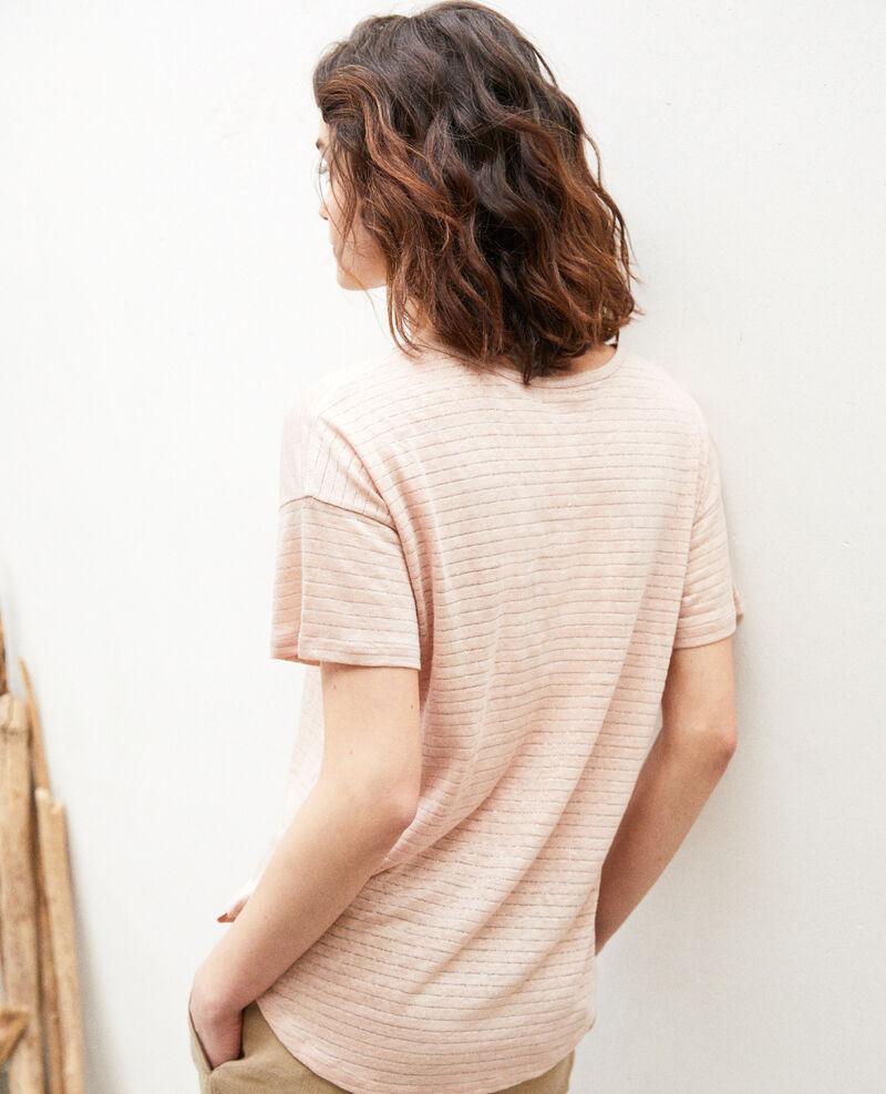 Glänzendes T-Shirt mit Leinen Pink beige Imape