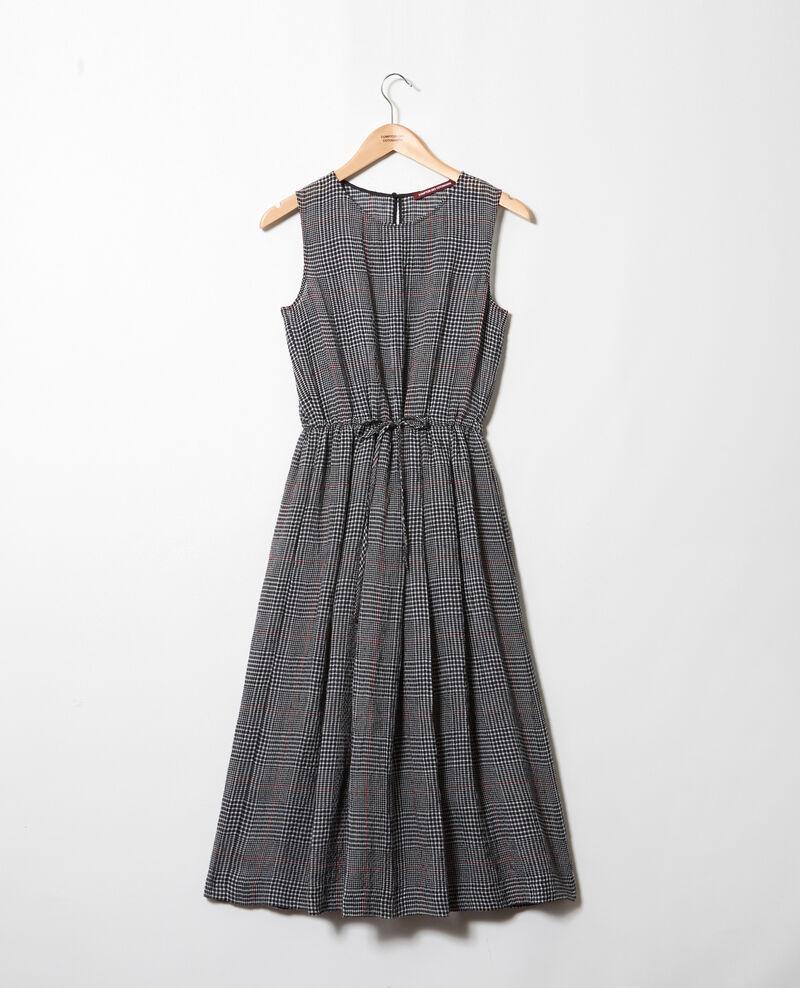 Halblanges Kleid mit Leinen Noir/blanc/rouge Ilibe