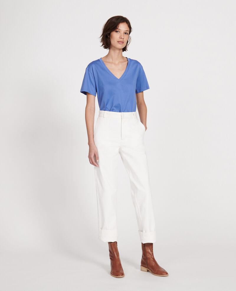 Kurzärmeliges T-Shirt aus Baumwolle mit V-Ausschnitt Amparo blue Laberne