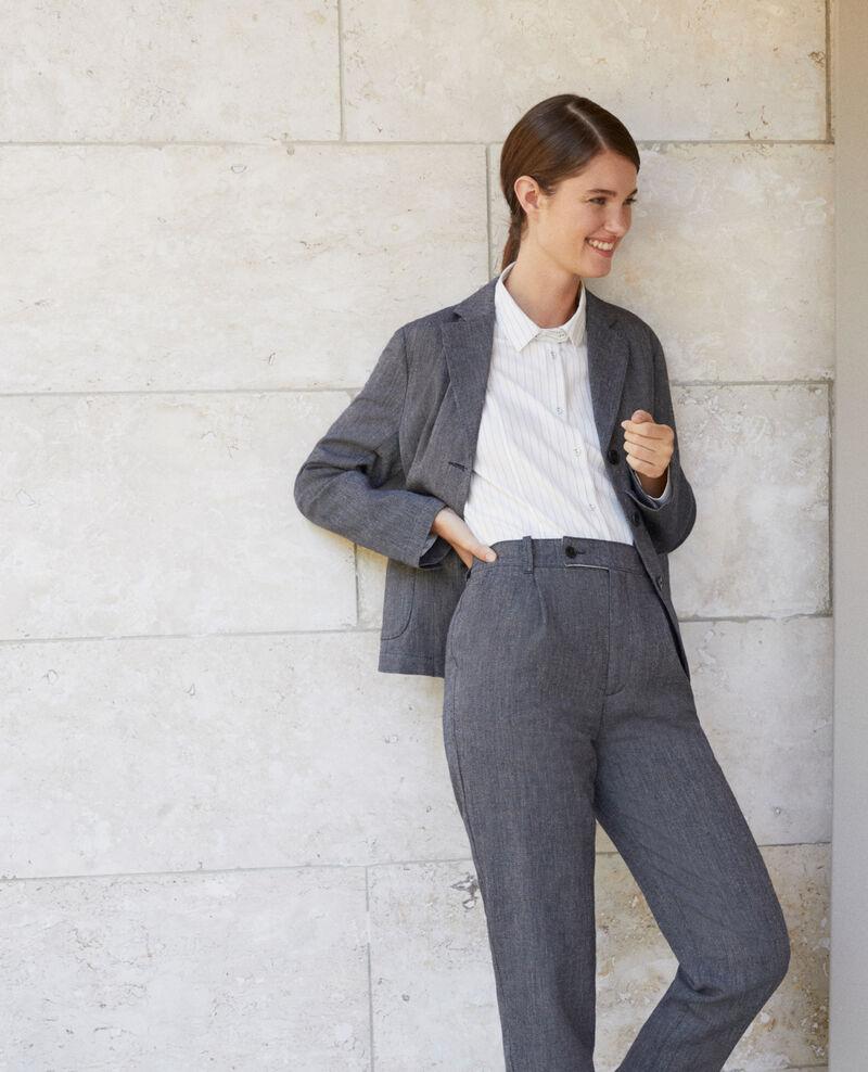 Hose aus Leinen und Wolle Blau Gaulicien