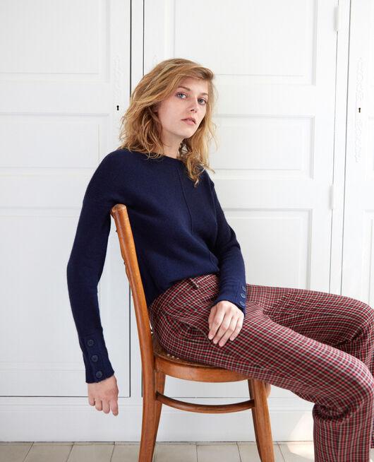 Pullover mit Knöpfen an den Ärmeln 100 % Kaschmir DARK NAVY
