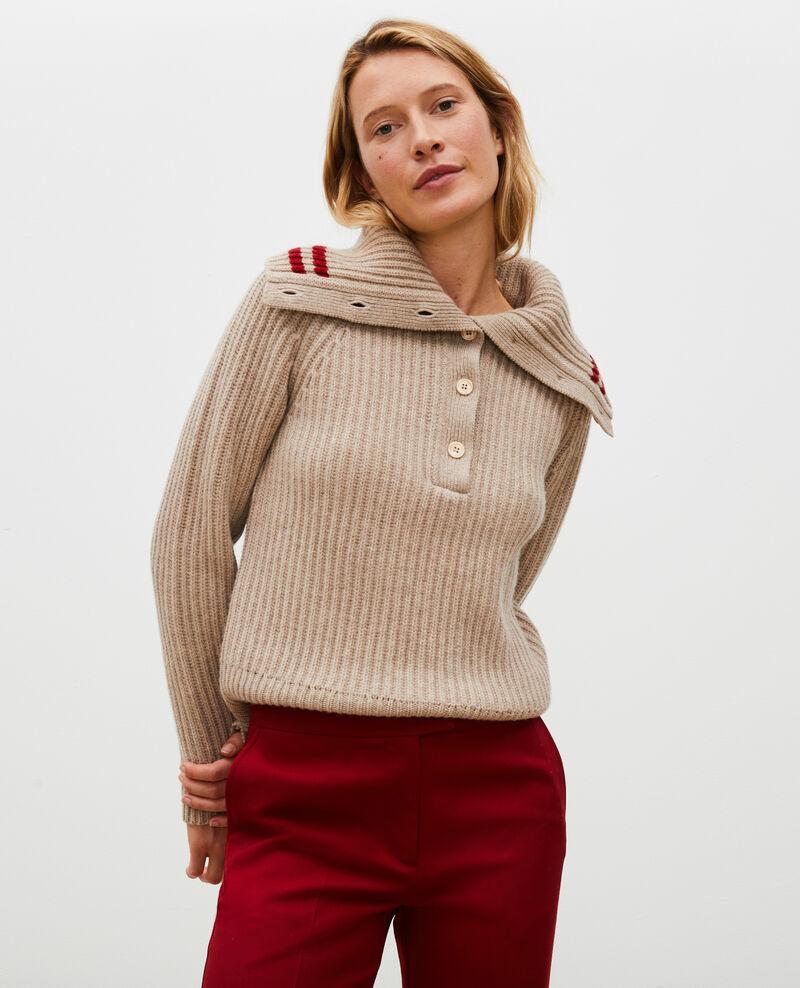 Wollpullover mit breitem Stehkragen Latte Marsani