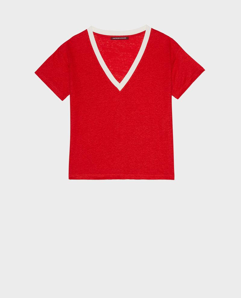 Shirt mit V-Ausschnitt aus Leinen Str fieryred gardenia Locmelar