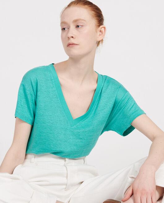 T-Shirts aus Jersey-Leinen BRIGHT AQUA