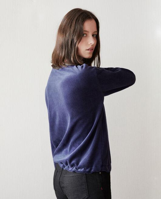 Sweatshirt aus Samt MEDIEVAL BLUE