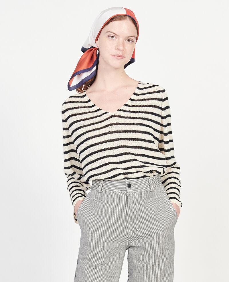 T-Shirt aus Leinen Stripes buttercream black Logron