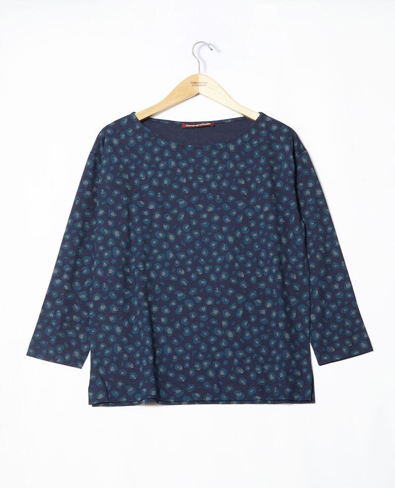 T-Shirt mit Rundhalsausschnitt Blau Gleopardo