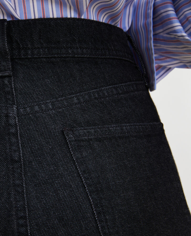 REAL STRAIGHT - Schwarze Jeans hohe Taille 5 Taschen Noir denim Merlines