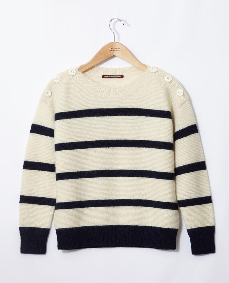 Pullover mit U-Boot-Ausschnitt Off white/peacoat Gipsy