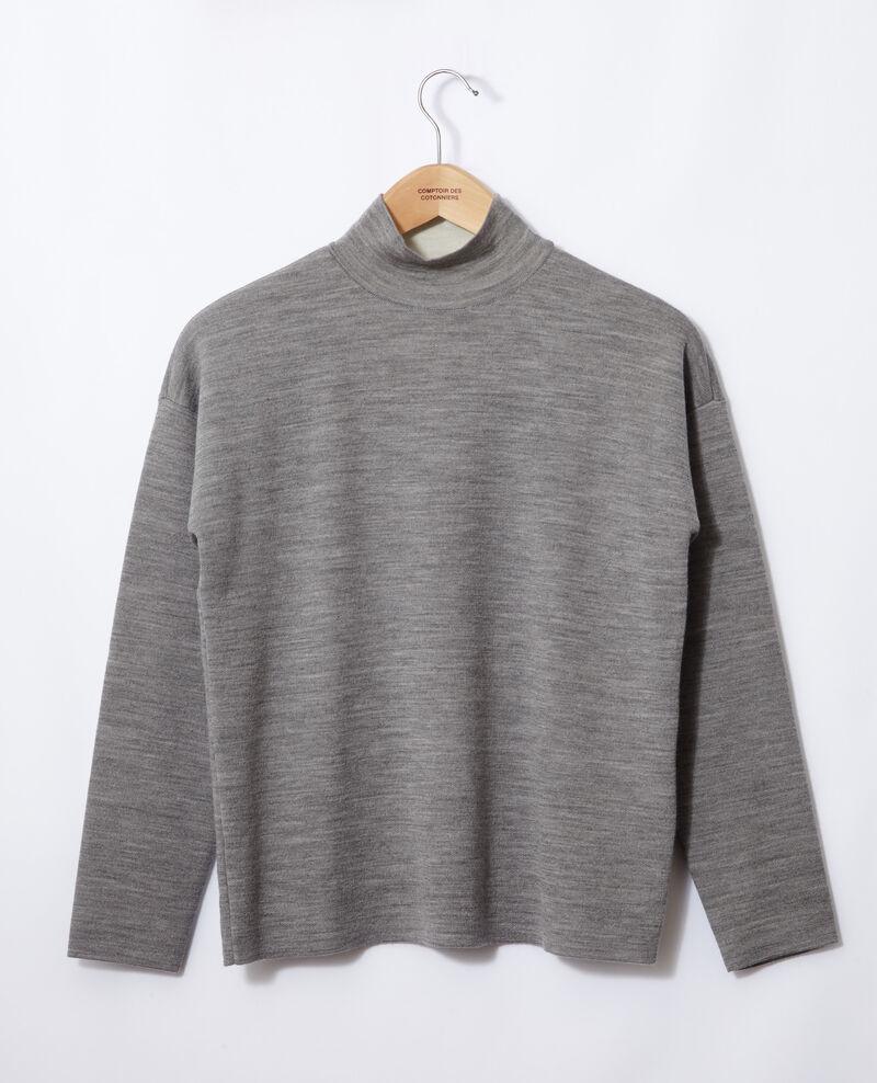 Doppelseitiger Pullover aus Merinowolle Light heather grey/off white Gibbon