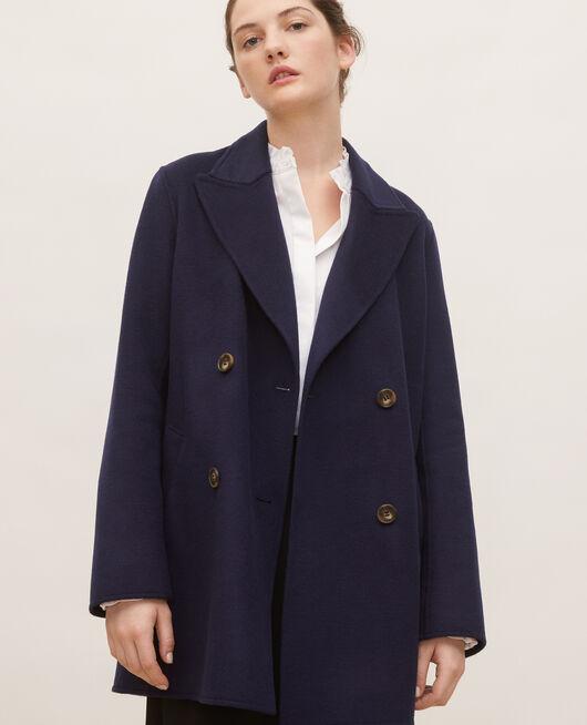 Doppelseitiger Caban-Mantel aus Wollgewebe MARITIME BLUE