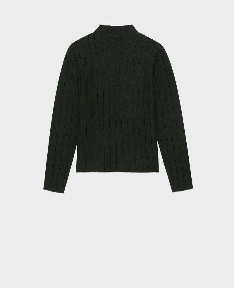Pullover mit Stehkragen aus Merinowolle Military black jacquard Marquisa