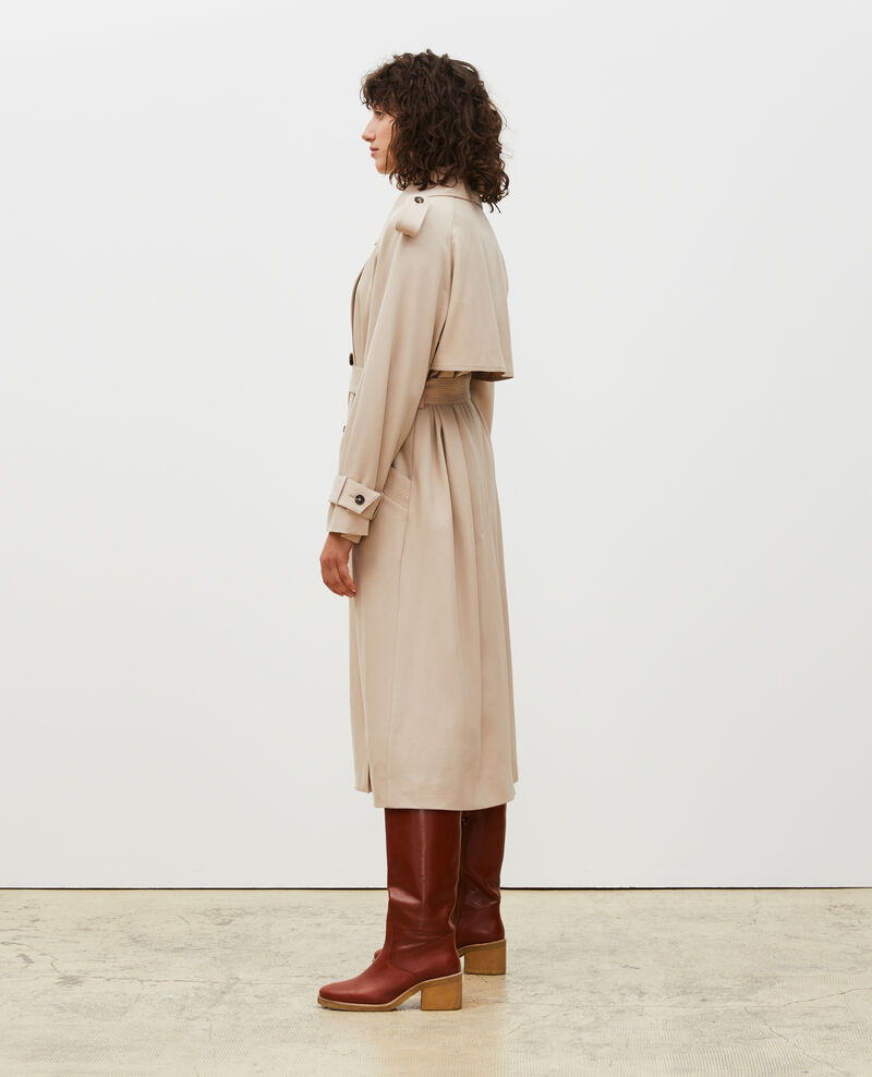 Oversize-Trenchcoat aus fließender Wolle Oxford tan Laiko