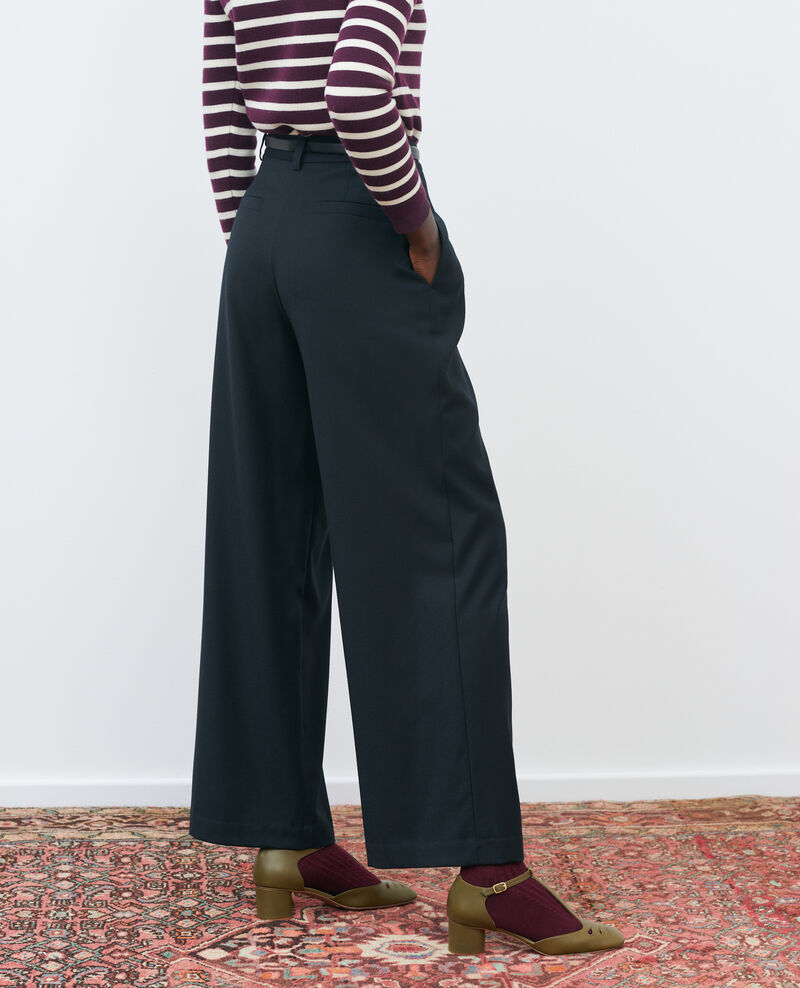 Hose YVONNE, weit, aus Wolle mit hoher Taille Black beauty Mafare