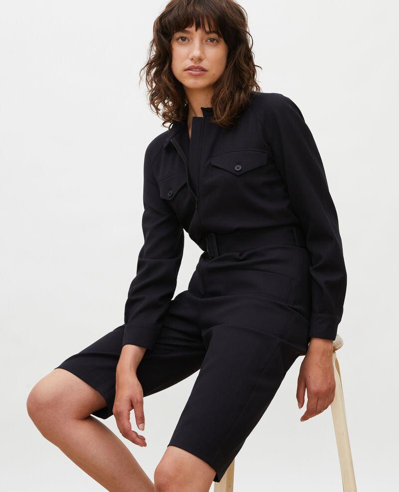 Bermudashorts-Jumpsuit aus Wolle Black beauty Marbache