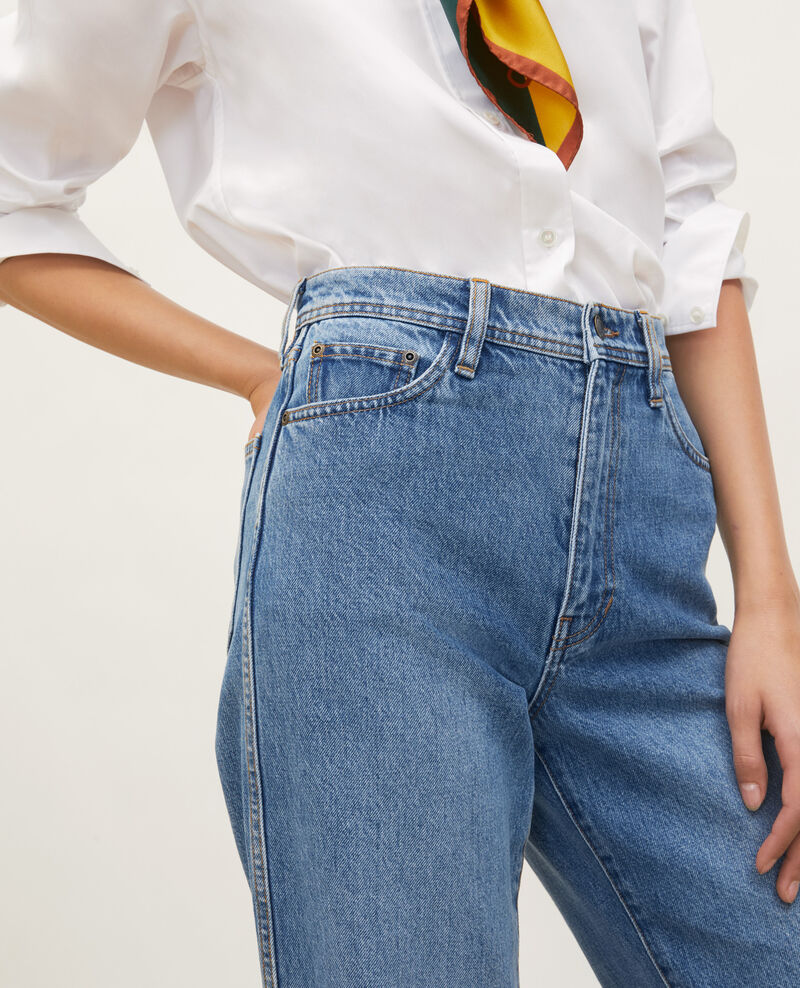 REAL STRAIGHT - Verwaschene Jeans hohe Taille 5 Taschen Light denim Merleac