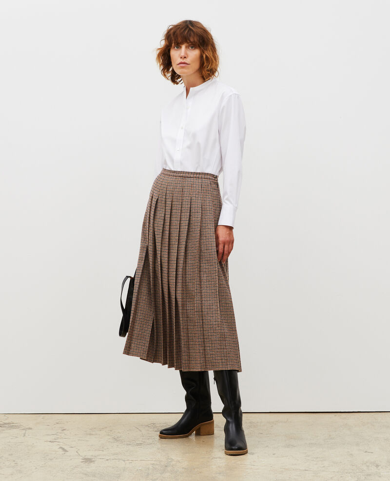 Plisseerock aus Woll-Tweed Check-wool-pattern-tailoring Mialos
