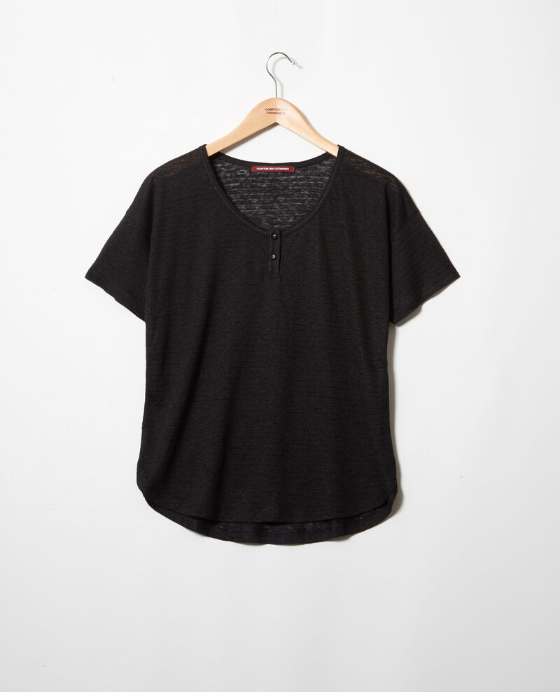 Glänzendes T-Shirt mit Leinen Noir Imape
