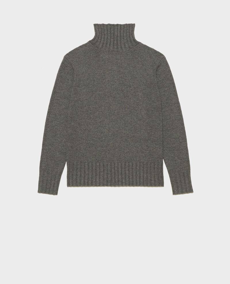 Wollpullover mit Stehkragen und breitem Rippstrick Medium grey melange Marques