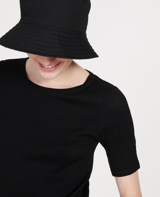 T-Shirt mit feinem Rippstrick aus merzerisierter Baumwolle BLACK BEAUTY