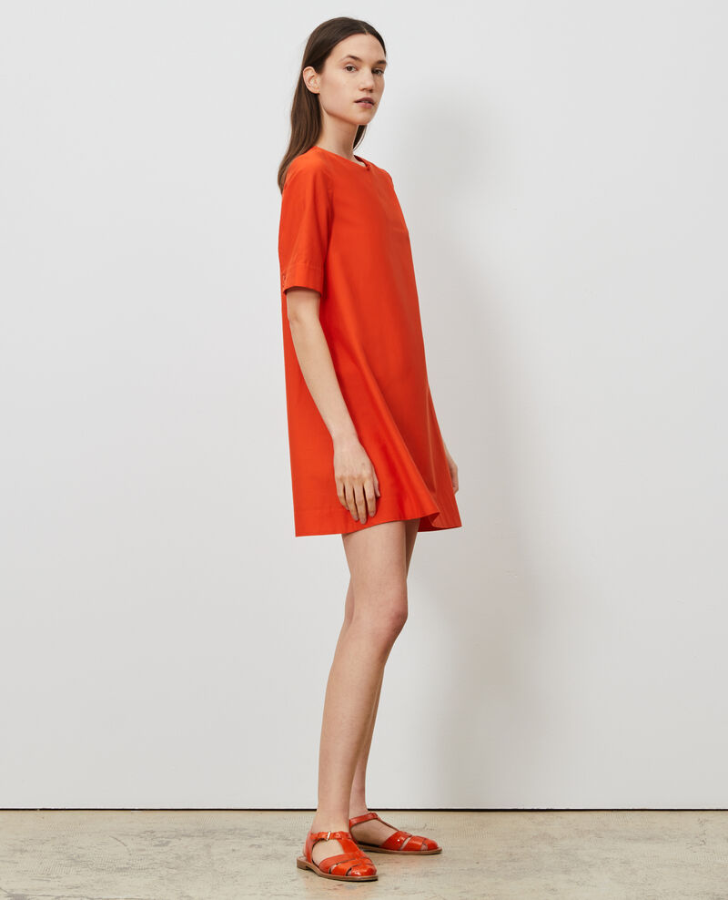 Kurzes Kleid aus Baumwolle und Seide Pureed pumpkin Nerniere
