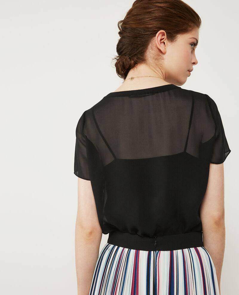 T-Shirt aus Seiden-Voile Noir Dartiste