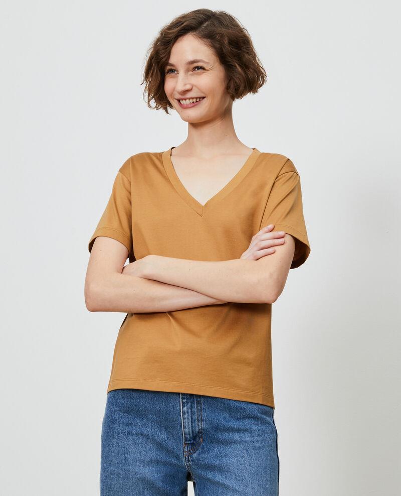T-Shirt aus Baumwolle mit V-Ausschnitt Latte Laberne