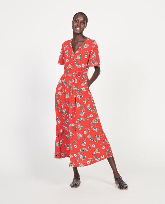 Langes Kleid aus Viskose-Krepp HERBIER FIERY RED HAZE