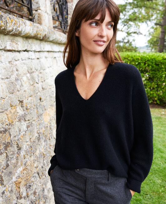 Pullover mit V-Ausschnitt aus 100 % Kaschmir NOIR