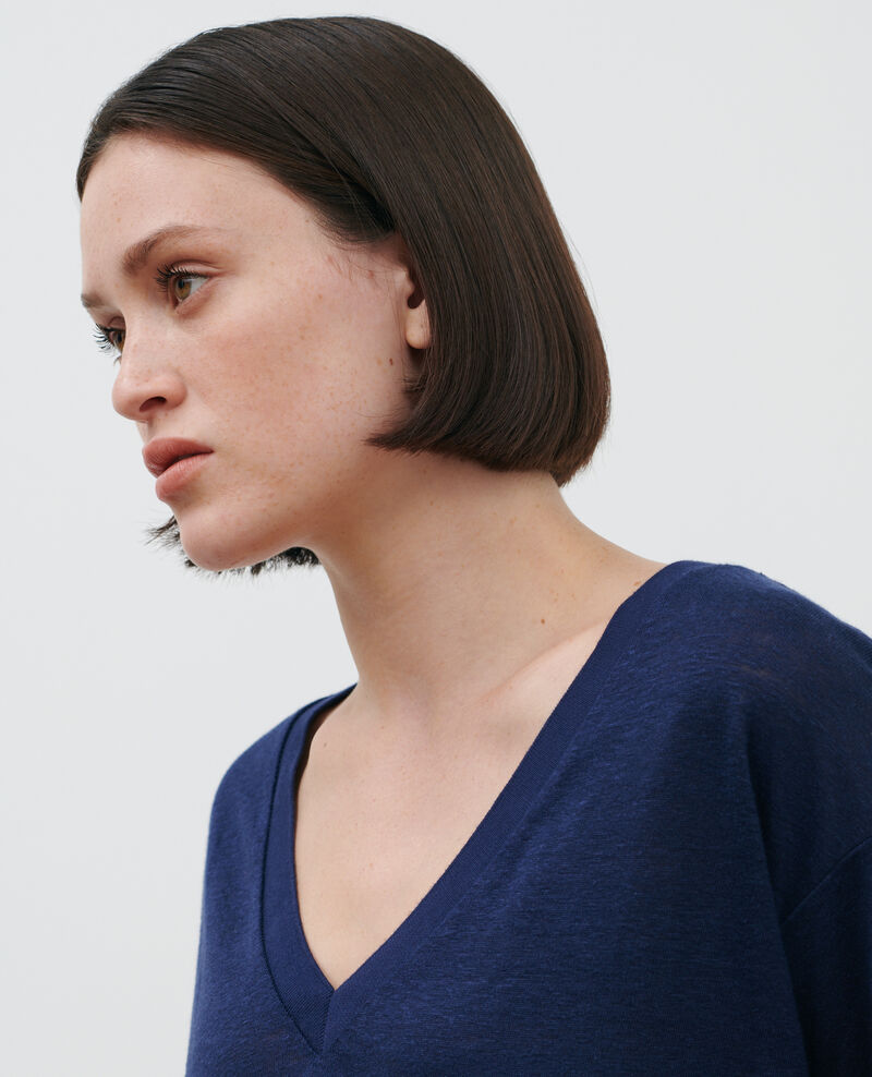 Shirt mit V-Ausschnitt aus Leinen Maritime blue Locmelar