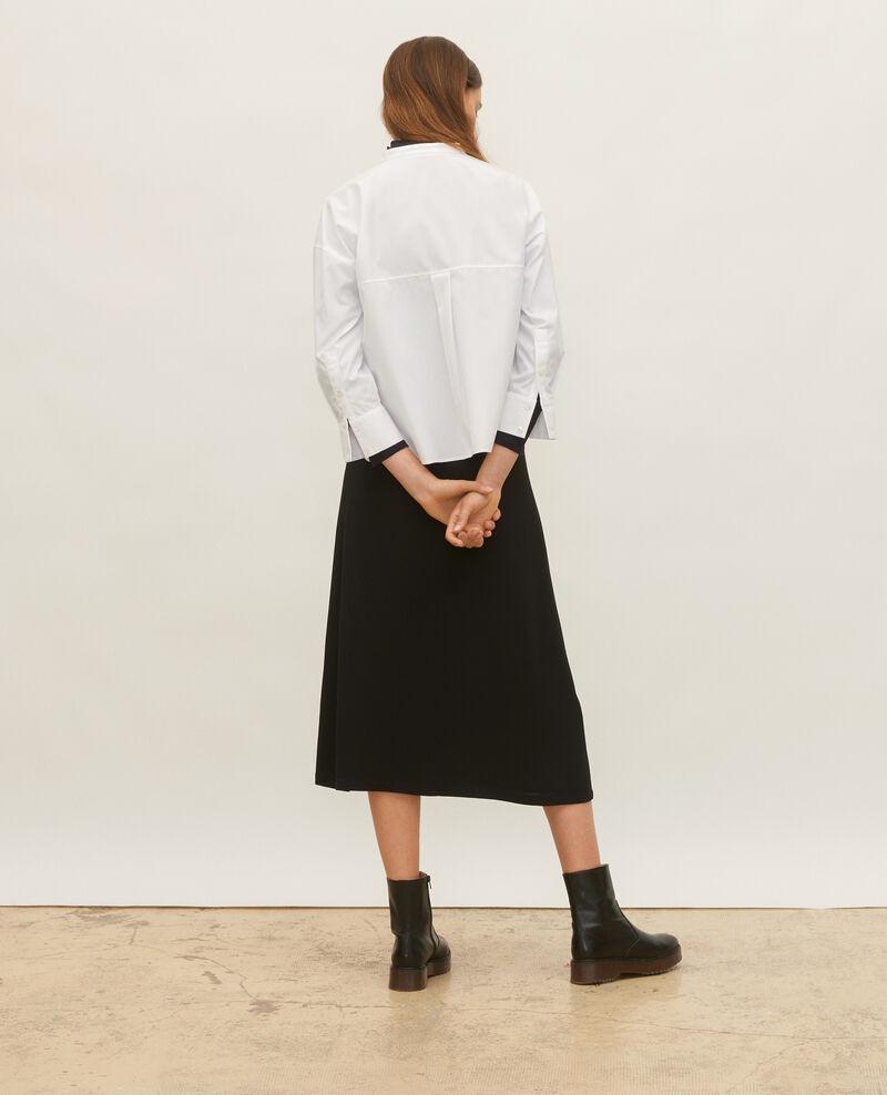 Bluse ohne Kragen aus Baumwoll-Popelin Optical white Lyringas