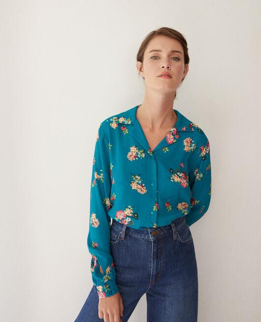 Bluse mit Pyjamakragen FLEURS PACIFIC GREEN