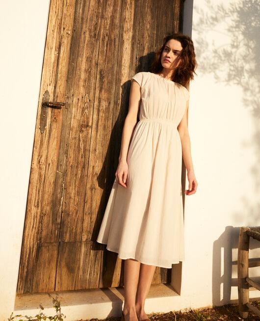 Halblanges Kleid LINEN/WHITE