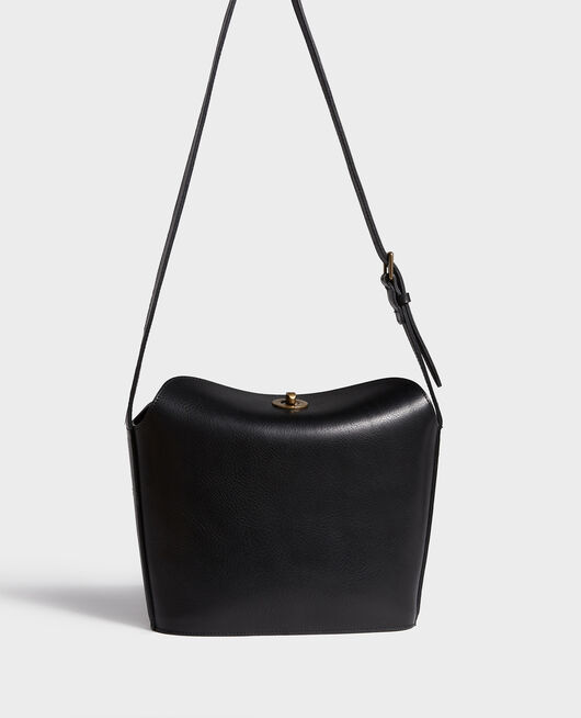 Lederhandtasche mit kurzem Schultergurt BLACK BEAUTY