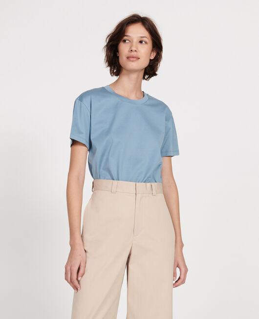 Kurzärmeliges T-Shirt aus Baumwolle mit Rundhalsausschnitt BLUESTONE