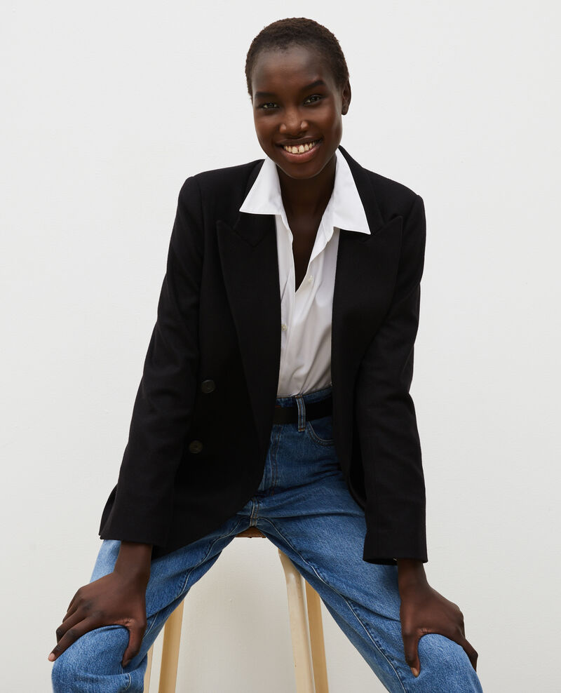 Überkreuzter Blazer aus Wolle Black beauty Muciane