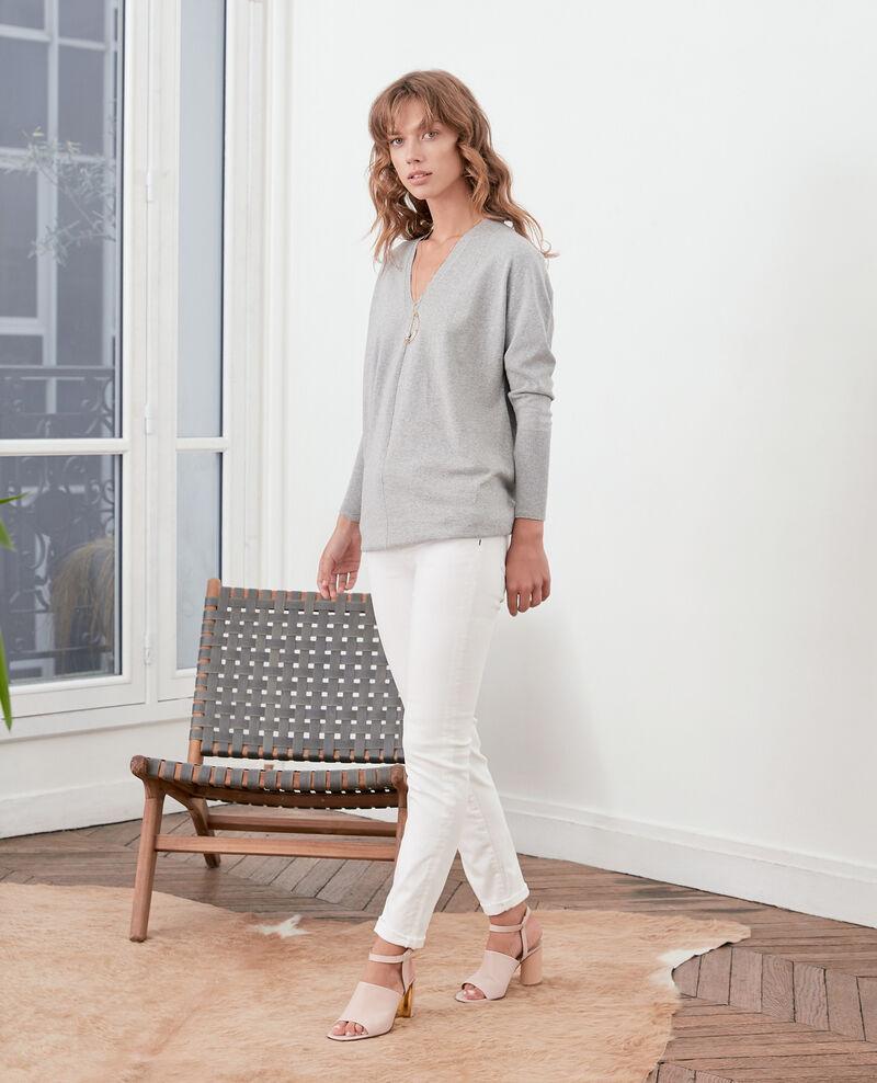 Oversize-Pullover aus Baumwolle und Kaschmir Light grey Fervent