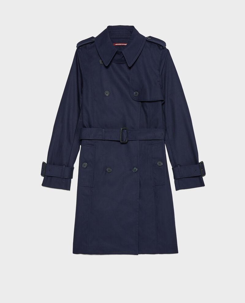 CATHERINE - Mittellanger Trenchcoat aus Baumwolle mit Gürtel Night sky Mambert