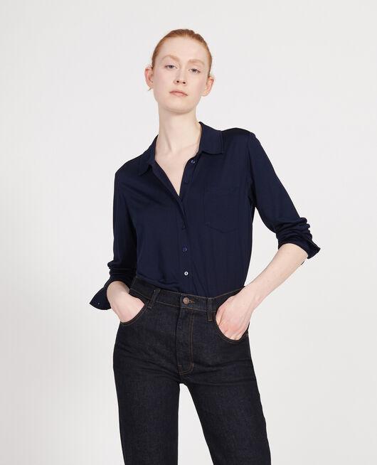 Bluse aus Seidenjersey MARITIME BLUE