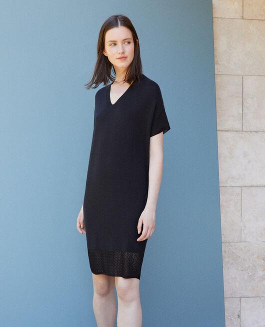 Kleid aus nahtlosem Strick Schwarz