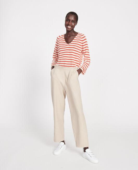 Hose mit Leinen und Baumwolle OXFORD TAN