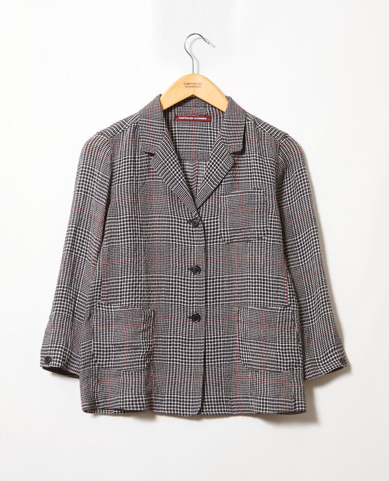 Bluse mit offenem Kragen Noir/blanc/rouge Iban