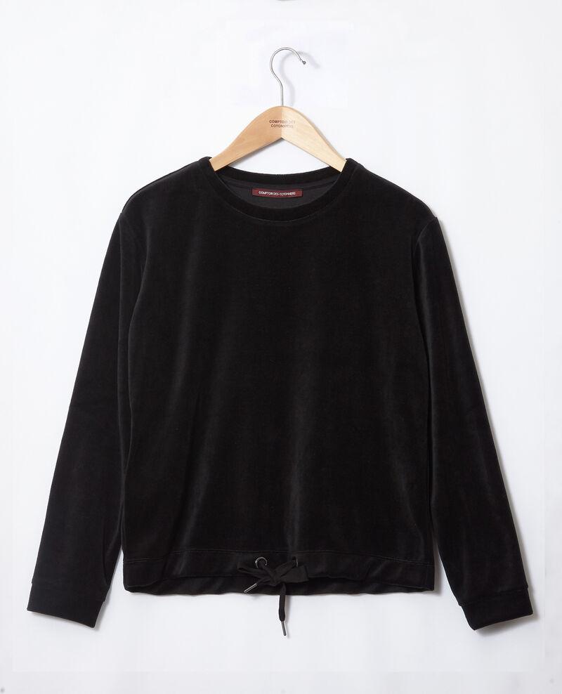 Sweatshirt aus Samt Schwarz Gala