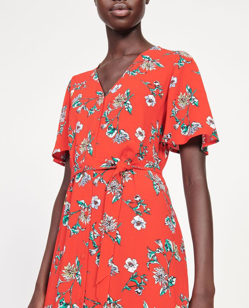 Langes Kleid aus Viskose-Krepp Herbier fiery red haze Lavish
