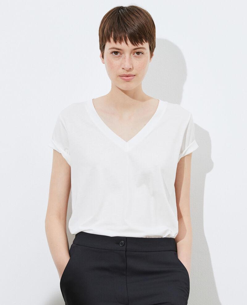 Fließendes T-Shirt mit V-Ausschnitt Cloud dancer Paberne