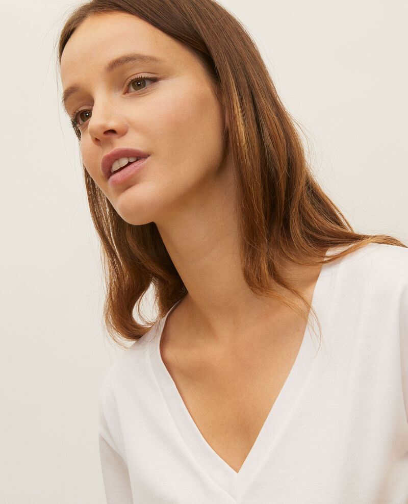 Kurzärmeliges T-Shirt aus Baumwolle mit V-Ausschnitt Optical white Laberne